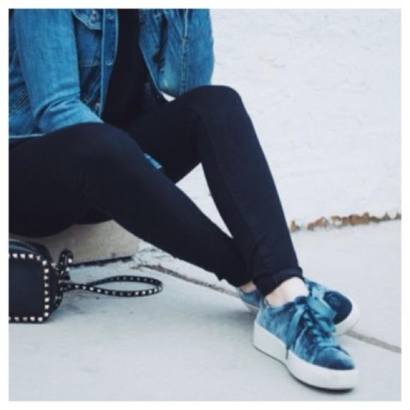 b2e02211d2b Steve Madden Bertie Blue Velvet Sneakers
